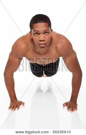 Muscular Man Pushups