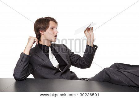 Businessman - Bored Paper Airplane
