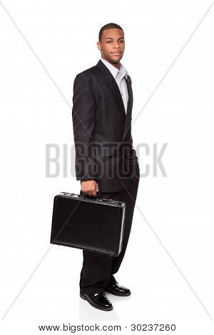 African American Businessman Isolated On White Holding Briefcase