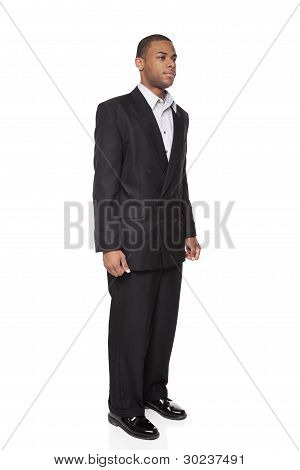 African American Businessman Isolated On White Front View
