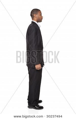 African American Businessman Isolated On White Side View