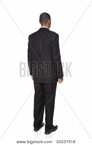 African American Businessman Isolated On White Rear View