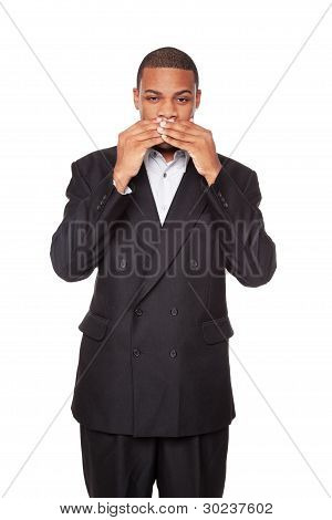 Speak No Evil - African American Businessman Isolated On White