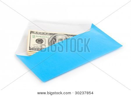 Dollar banknotes in envelope isolated on white