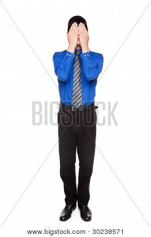 See No Evil - Caucasian Businessman Posing