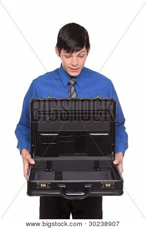 Caucasian Man Presenting An Open Empty Briefcase