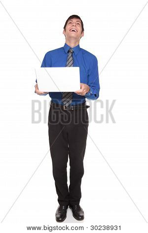 Expressions - Caucasian Businessman Laughing Out Loud At His Computer