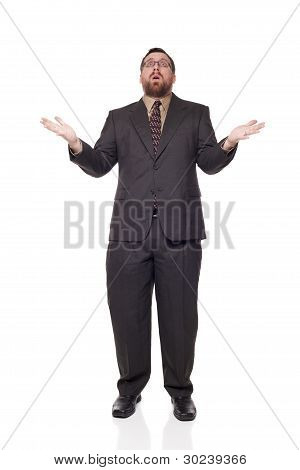 Front View Upset Caucasian Businessman Raising Arms In Disbelief