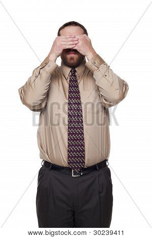Businessman On White Background In See No Evil Pose