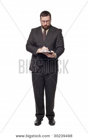 Caucasian Businessman Filling Out Job Application On Clipboard Front View