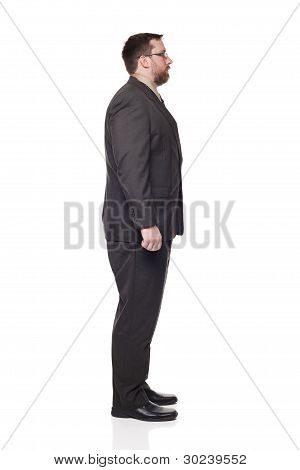 Side View Caucasian Businessman Looking Right Full Length