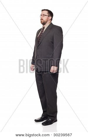 Front View Caucasian Businessman Looking Away Full Length
