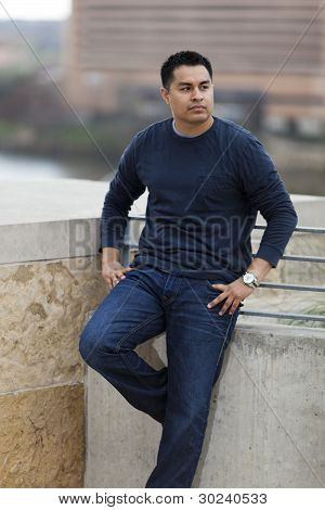 Hispanic Man - Stone Balcony