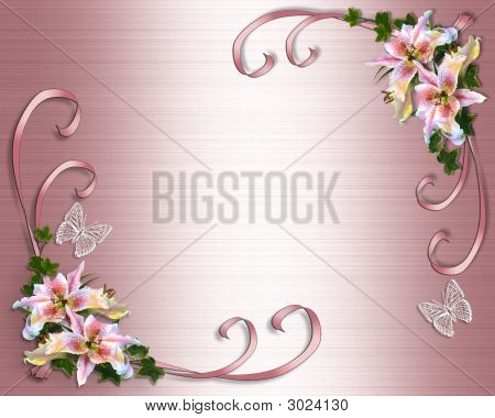Lilies On Pink Satin Wedding Invitation Template Stock photo