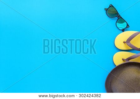 poster of Vibrant Retro Youth Fashion Flat Lay On Top View Blue Background Texture Concept For Minimal Summer
