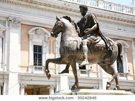 The Equestrian Statue Of Marcus Aurelius In Rome, Italy