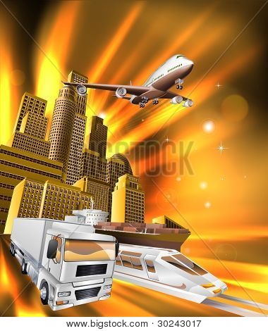 City Logistics Delivery Graphic