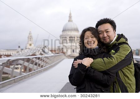 Smiling East Asian Couple Visiting London