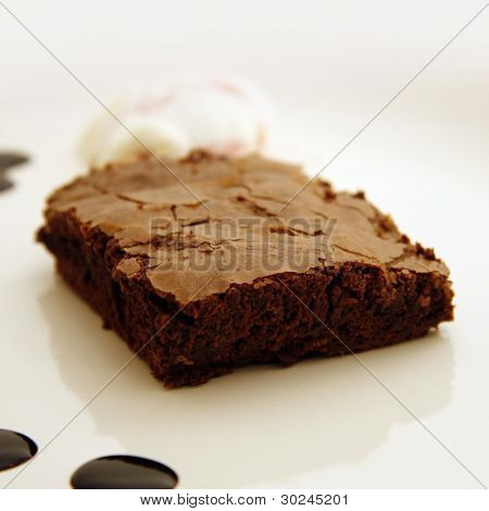 Brownie with Ice Cream and Chocolate Syrup