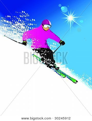 Skier in mountains
