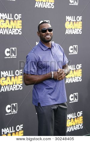 SANTA MONICA, CA - FEB 18: Calvin Johnson at the 2012 Cartoon Network Hall of Game Awards at Barker Hangar on February 18, 2012 in Santa Monica, California