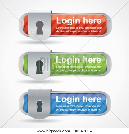 Web2 login buttons with keyhole icon