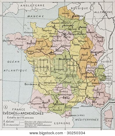 French Diocese and Archdiocese old map. By Paul Vidal de Lablache, Atlas Classique, Librerie Colin, Paris, 1894 (first edition)