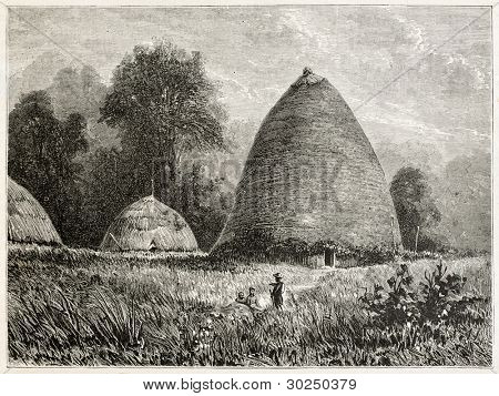 Hienghene village old view, New Caledonia. Created by Moynet after photo by unknown author, published on Le Tour Du Monde, Paris, 1867