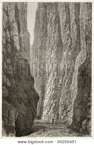 Hollental old view (Hell Valeey), Black Forest, Germany. Created by Stroobant, published on Le Tour Du Monde, Paris, 1867