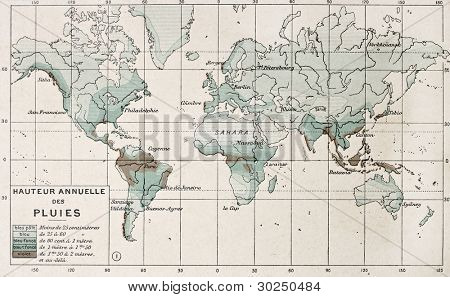 World rainfall map. By Paul Vidal de Lablache, Atlas Classique, Librerie Colin, Paris, 1894