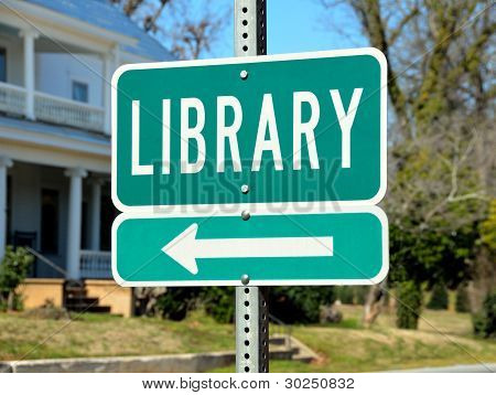 Public Library Road Sign
