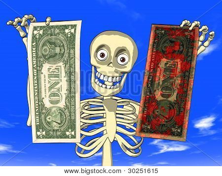 Money laundering - cartoon of skeleton with dollar bills