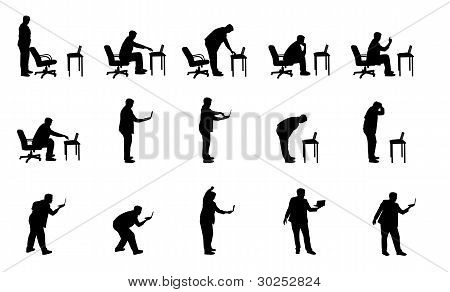 vector silhouettes of man with laptop