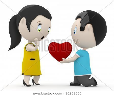 I love you my dear! Social 3D characters: boy giving his heart to the girl. New constantly growing collection of people images. Concept for love, relationship, Valentine illustration. Isolated.