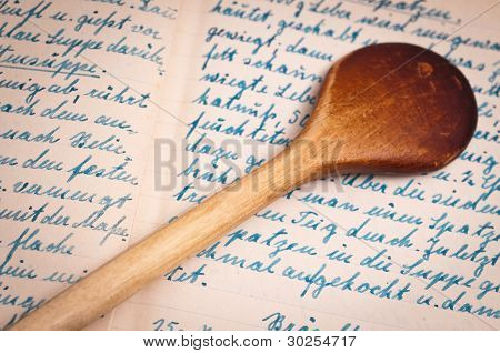 Recipe With Handwriting And Cooking Spoon