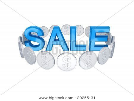 Word SALE and silver coins around.