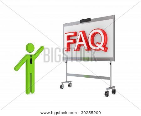 3d small person with a flipchart and big word FAQ.