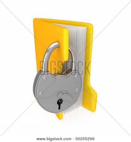 Yellow folder and iron lock.