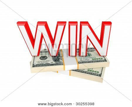 Word WIN  and two packs of money.