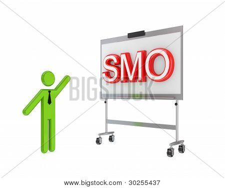 3d small person with a flipchart and big word SMO.