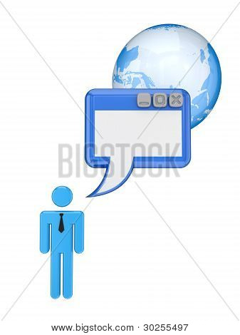 3d small person, browser window and Earth.
