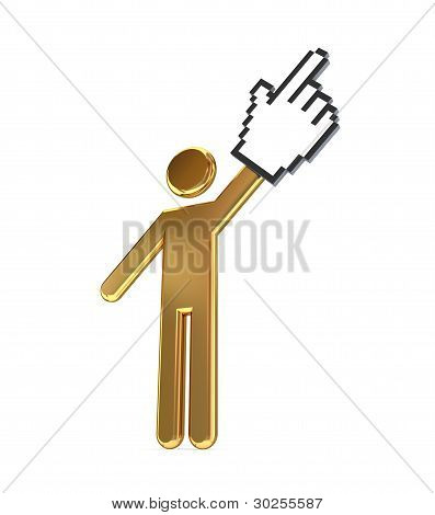 3d small person and large cursor.