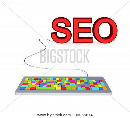 Colorful PC keyboard and big red word SEO.