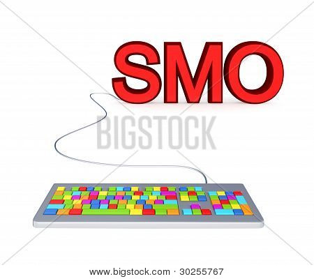 Colorful PC keyboard and big red word SMO.
