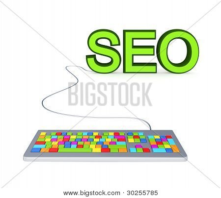 Colorful PC keyboard and big green word SEO.