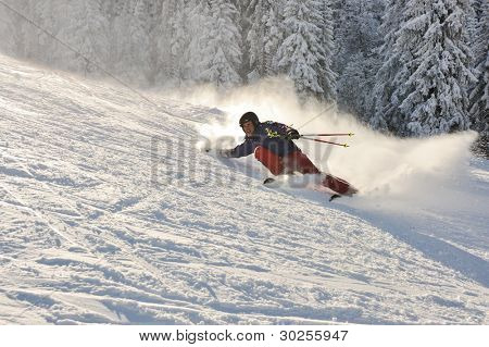 Skier in nature