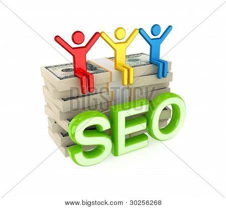 3d small people, dollar packs and big word SEO.