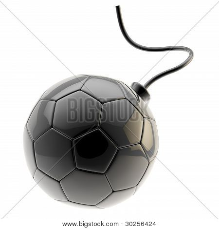Football ball as a glossy black bomb isolated