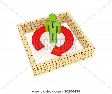 Brick wall around red arrow.