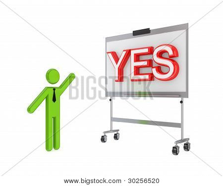 3d small person with a flipchart and big word YES.